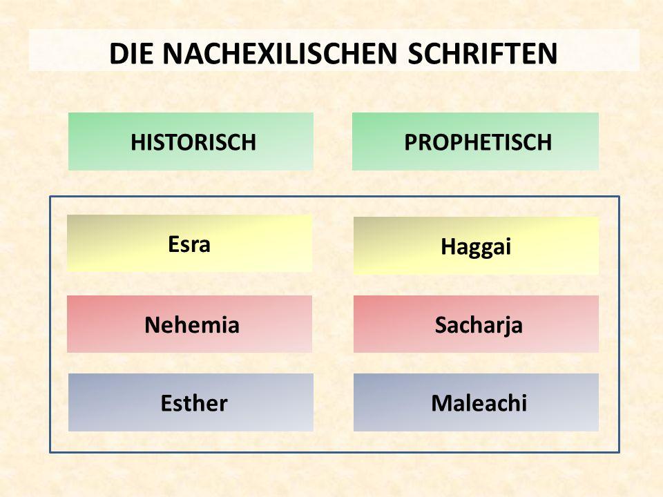 DIE NACHEXILISCHEN SCHRIFTEN Nehemia HISTORISCH Esther Esra PROPHETISCH Haggai Sacharja Maleachi