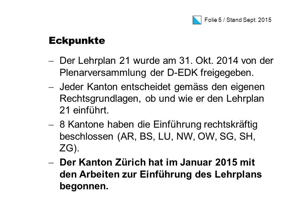 Folie 5 / Stand Sept. 2015 Eckpunkte  Der Lehrplan 21 wurde am 31.