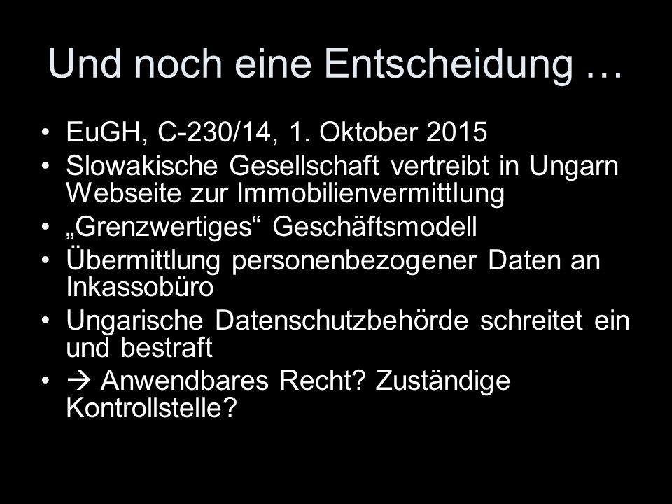 """Und noch eine Entscheidung … EuGH, C ‑ 230/14, 1. Oktober 2015 Slowakische Gesellschaft vertreibt in Ungarn Webseite zur Immobilienvermittlung """"Grenzw"""