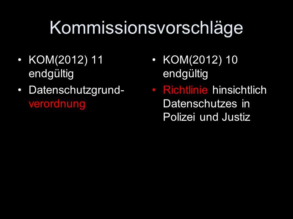 Kommissionsvorschläge KOM(2012) 11 endgültig Datenschutzgrund- verordnung KOM(2012) 10 endgültig Richtlinie hinsichtlich Datenschutzes in Polizei und