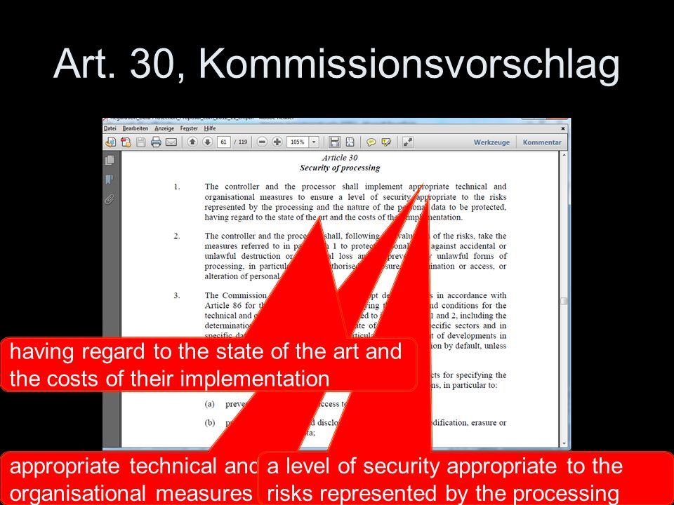 Art. 30, Kommissionsvorschlag appropriate technical and organisational measures a level of security appropriate to the risks represented by the proces