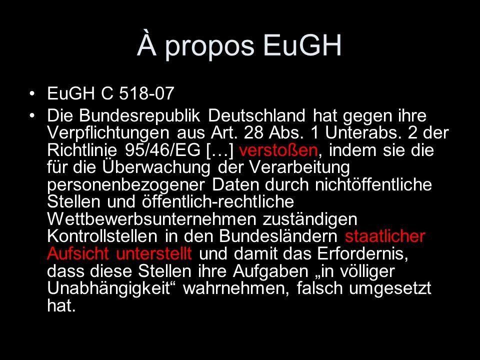 À propos EuGH EuGH C 518-07 Die Bundesrepublik Deutschland hat gegen ihre Verpflichtungen aus Art. 28 Abs. 1 Unterabs. 2 der Richtlinie 95/46/EG […] v