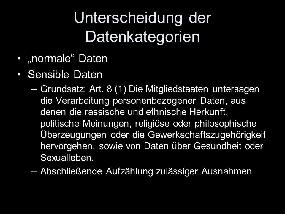 """Unterscheidung der Datenkategorien """"normale"""" Daten Sensible Daten –Grundsatz: Art. 8 (1) Die Mitgliedstaaten untersagen die Verarbeitung personenbezog"""