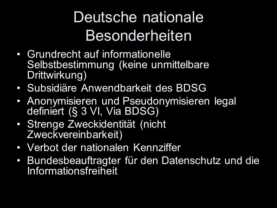 Deutsche nationale Besonderheiten Grundrecht auf informationelle Selbstbestimmung (keine unmittelbare Drittwirkung) Subsidiäre Anwendbarkeit des BDSG