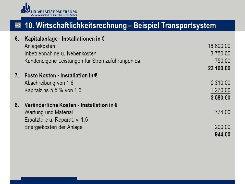 6.Kapitalanlage - Installationen in € Anlagekosten 18 600,00 Inbetriebnahme u. Nebenkosten 3 750,00 Kundeneigene Leistungen für Stromzuführungen ca. 7
