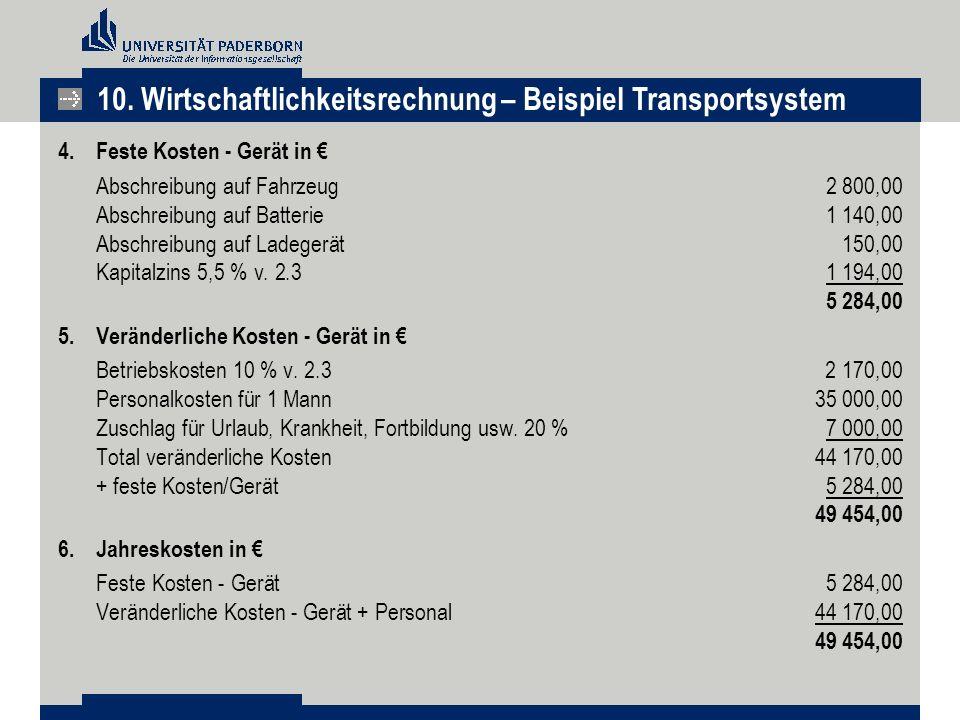 4.Feste Kosten - Gerät in € Abschreibung auf Fahrzeug2 800,00 Abschreibung auf Batterie1 140,00 Abschreibung auf Ladegerät150,00 Kapitalzins 5,5 % v.