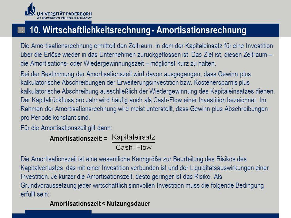 Die Amortisationsrechnung ermittelt den Zeitraum, in dem der Kapitaleinsatz für eine Investition über die Erlöse wieder in das Unternehmen zurückgeflo