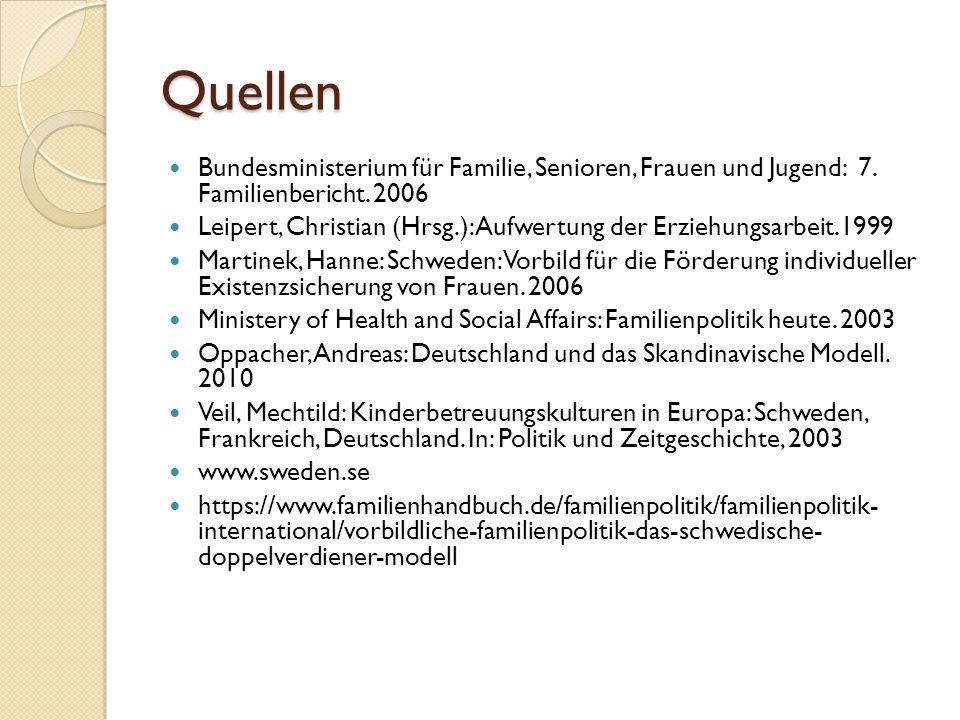 Quellen Bundesministerium für Familie, Senioren, Frauen und Jugend: 7. Familienbericht. 2006 Leipert, Christian (Hrsg.): Aufwertung der Erziehungsarbe