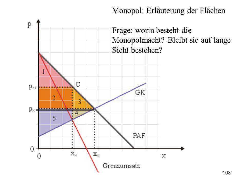 Monopol: Erläuterung der Flächen Frage: worin besteht die Monopolmacht? Bleibt sie auf lange Sicht bestehen? 103
