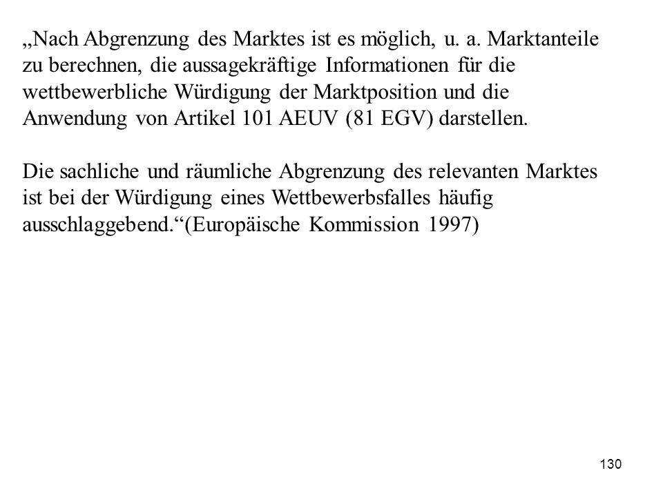 """""""Nach Abgrenzung des Marktes ist es möglich, u. a. Marktanteile zu berechnen, die aussagekräftige Informationen für die wettbewerbliche Würdigung der"""
