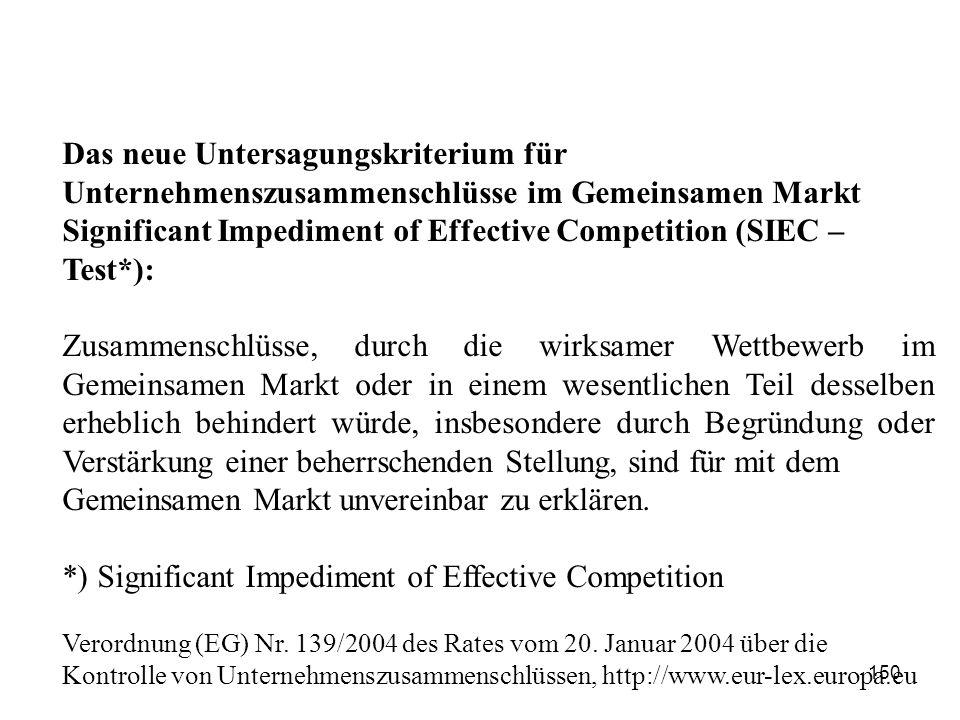Das neue Untersagungskriterium für Unternehmenszusammenschlüsse im Gemeinsamen Markt Significant Impediment of Effective Competition (SIEC – Test*): Z
