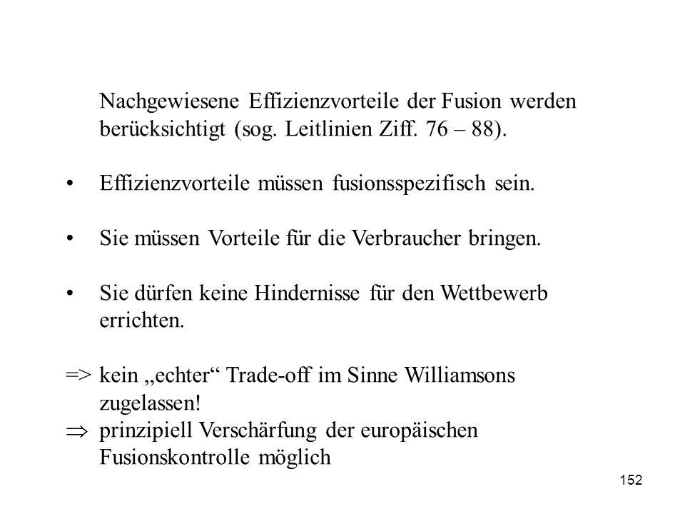 Nachgewiesene Effizienzvorteile der Fusion werden berücksichtigt (sog. Leitlinien Ziff. 76 – 88). Effizienzvorteile müssen fusionsspezifisch sein. Sie