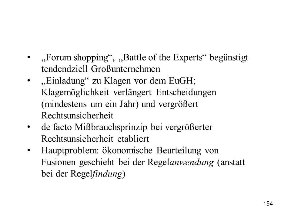 """154 """"Forum shopping"""", """"Battle of the Experts"""" begünstigt tendendziell Großunternehmen """"Einladung"""" zu Klagen vor dem EuGH; Klagemöglichkeit verlängert"""