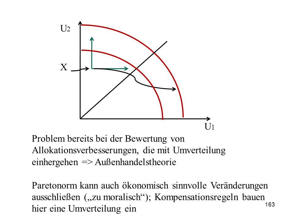 Problem bereits bei der Bewertung von Allokationsverbesserungen, die mit Umverteilung einhergehen => Außenhandelstheorie Paretonorm kann auch ökonomis
