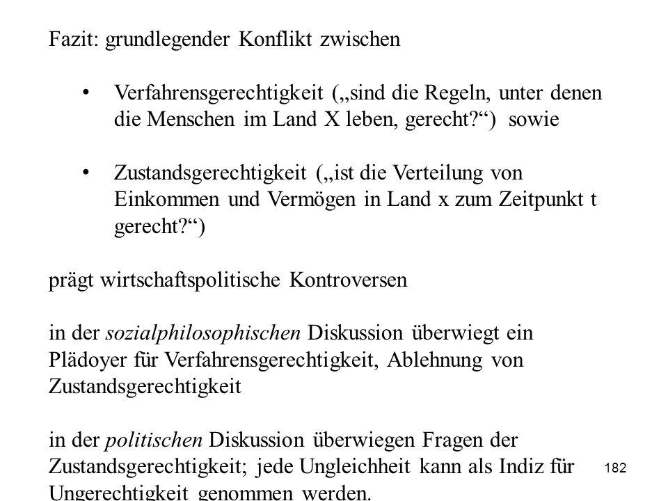 """Fazit: grundlegender Konflikt zwischen Verfahrensgerechtigkeit (""""sind die Regeln, unter denen die Menschen im Land X leben, gerecht?"""") sowie Zustandsg"""