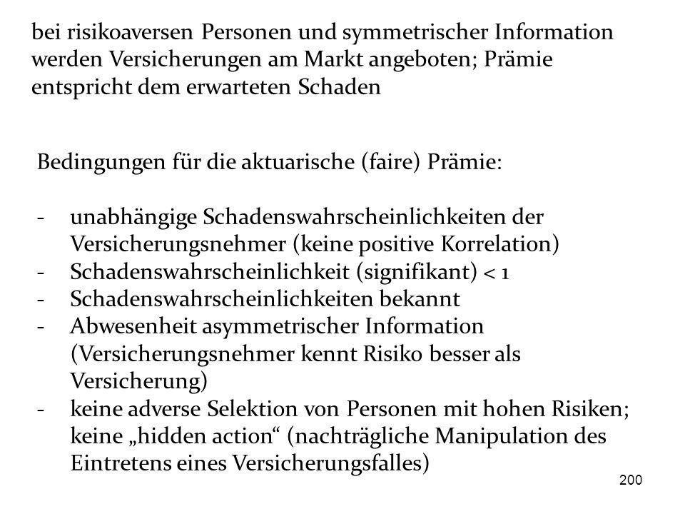 200 Bedingungen für die aktuarische (faire) Prämie: - unabhängige Schadenswahrscheinlichkeiten der Versicherungsnehmer (keine positive Korrelation) -