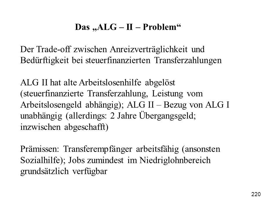 """220 Das """"ALG – II – Problem"""" Der Trade-off zwischen Anreizverträglichkeit und Bedürftigkeit bei steuerfinanzierten Transferzahlungen ALG II hat alte A"""