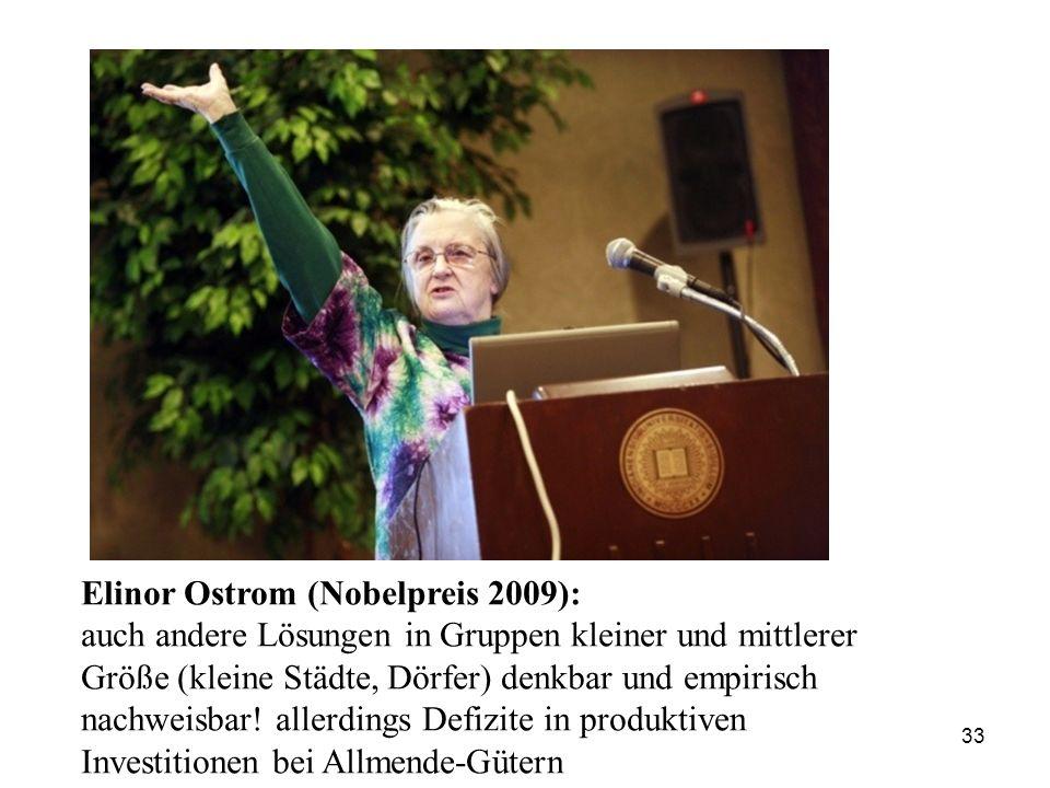 33 Elinor Ostrom (Nobelpreis 2009): auch andere Lösungen in Gruppen kleiner und mittlerer Größe (kleine Städte, Dörfer) denkbar und empirisch nachweis