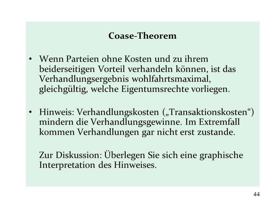 Coase-Theorem Wenn Parteien ohne Kosten und zu ihrem beiderseitigen Vorteil verhandeln können, ist das Verhandlungsergebnis wohlfahrtsmaximal, gleichg