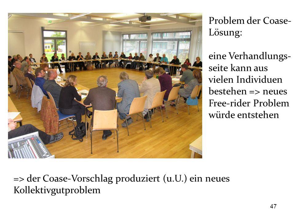47 Problem der Coase- Lösung: eine Verhandlungs- seite kann aus vielen Individuen bestehen => neues Free-rider Problem würde entstehen => der Coase-Vo