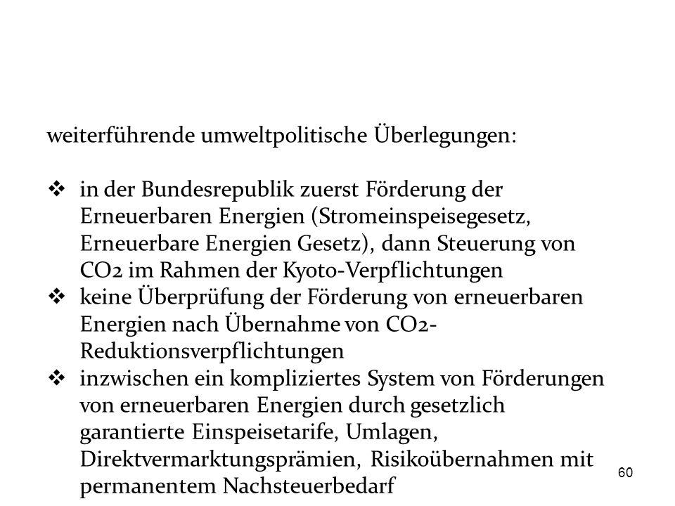 60 weiterführende umweltpolitische Überlegungen:  in der Bundesrepublik zuerst Förderung der Erneuerbaren Energien (Stromeinspeisegesetz, Erneuerbare