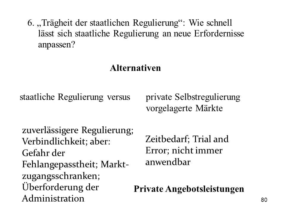 """6. """"Trägheit der staatlichen Regulierung"""": Wie schnell lässt sich staatliche Regulierung an neue Erfordernisse anpassen? staatliche Regulierung versus"""