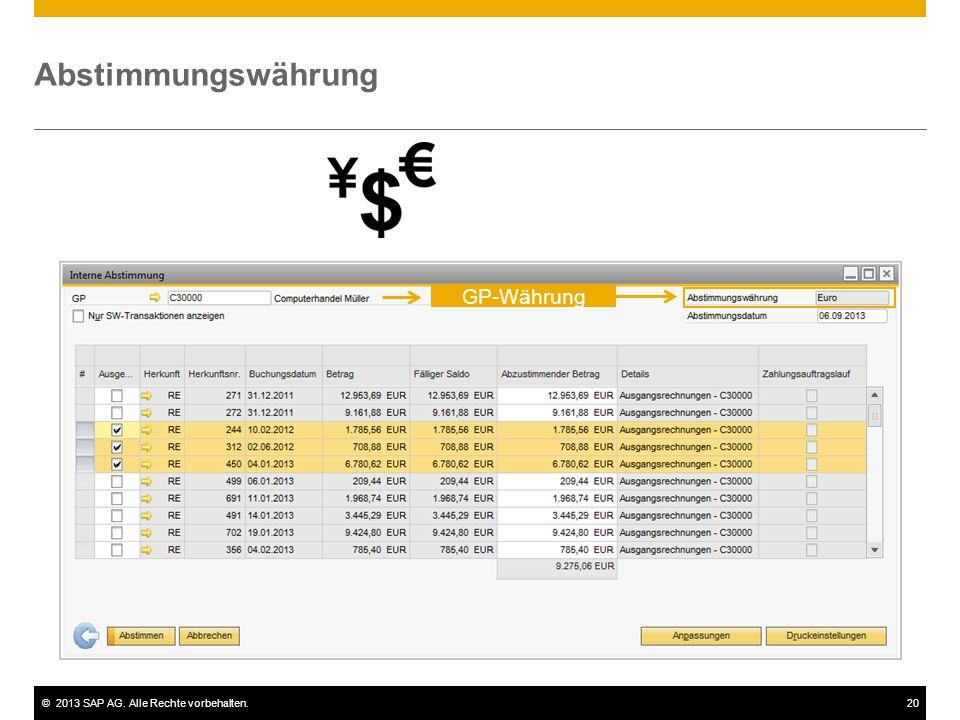 ©2013 SAP AG. Alle Rechte vorbehalten.20 Abstimmungswährung GP-Währung