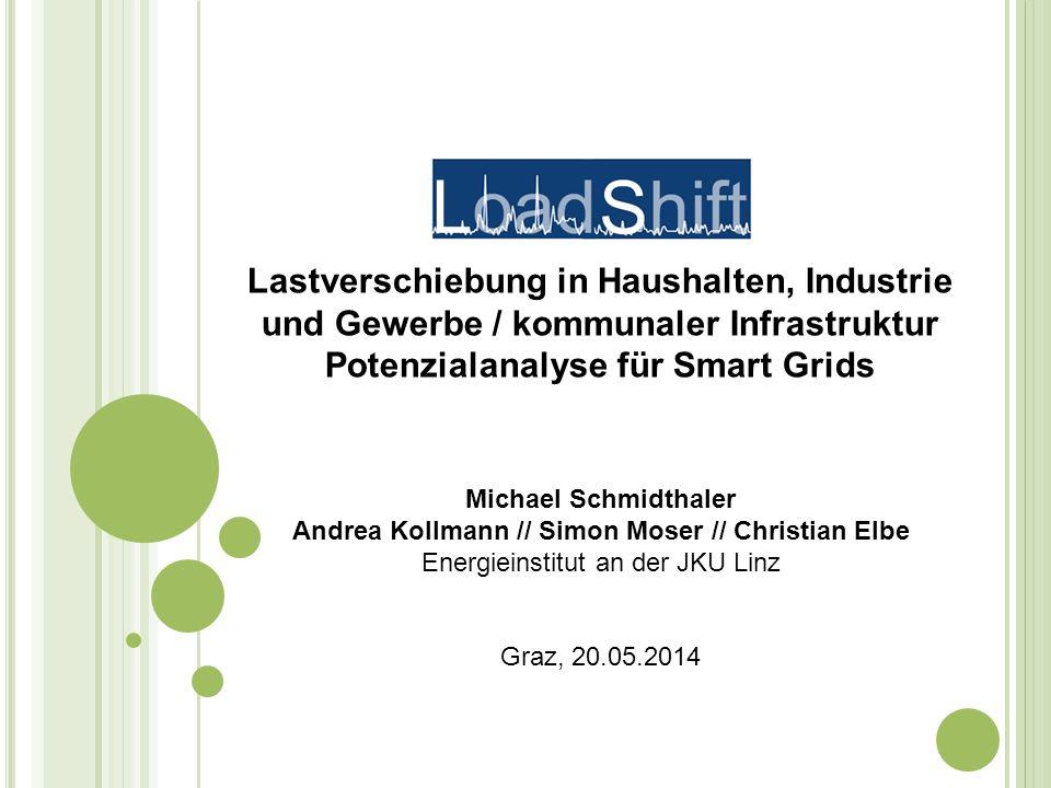 Lastverschiebung in Haushalten, Industrie und Gewerbe / kommunaler Infrastruktur Potenzialanalyse für Smart Grids Michael Schmidthaler Andrea Kollmann