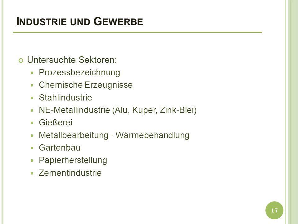 I NDUSTRIE UND G EWERBE Untersuchte Sektoren: Prozessbezeichnung Chemische Erzeugnisse Stahlindustrie NE-Metallindustrie (Alu, Kuper, Zink-Blei) Gießerei Metallbearbeitung - Wärmebehandlung Gartenbau Papierherstellung Zementindustrie 17