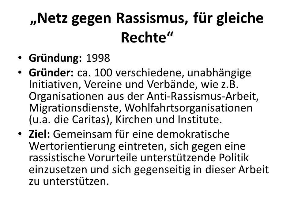 """""""Netz gegen Rassismus, für gleiche Rechte"""" Gründung: 1998 Gründer: ca. 100 verschiedene, unabhängige Initiativen, Vereine und Verbände, wie z.B. Organ"""