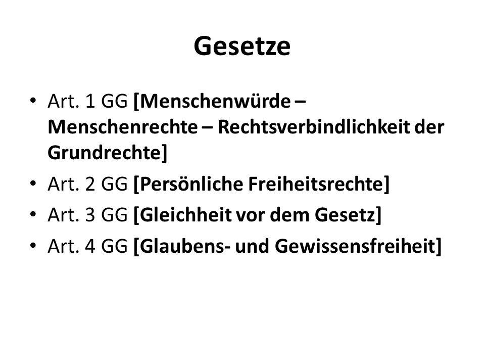 Gesetze Art. 1 GG [Menschenwürde – Menschenrechte – Rechtsverbindlichkeit der Grundrechte] Art. 2 GG [Persönliche Freiheitsrechte] Art. 3 GG [Gleichhe