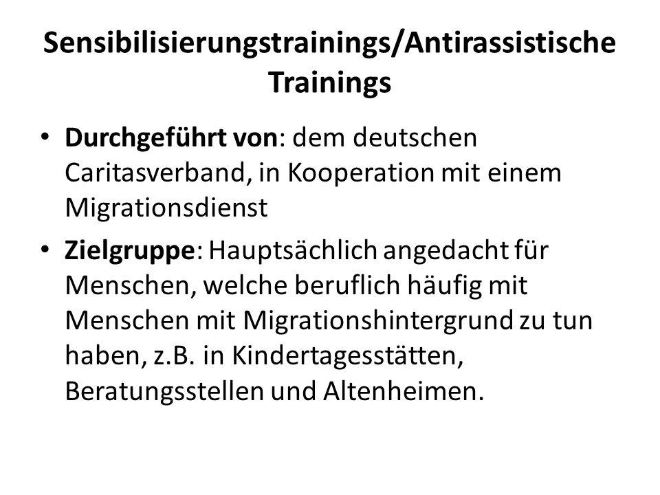 Sensibilisierungstrainings/Antirassistische Trainings Durchgeführt von: dem deutschen Caritasverband, in Kooperation mit einem Migrationsdienst Zielgr
