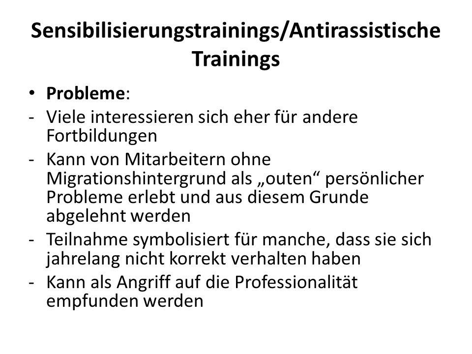 Sensibilisierungstrainings/Antirassistische Trainings Probleme: -Viele interessieren sich eher für andere Fortbildungen -Kann von Mitarbeitern ohne Mi