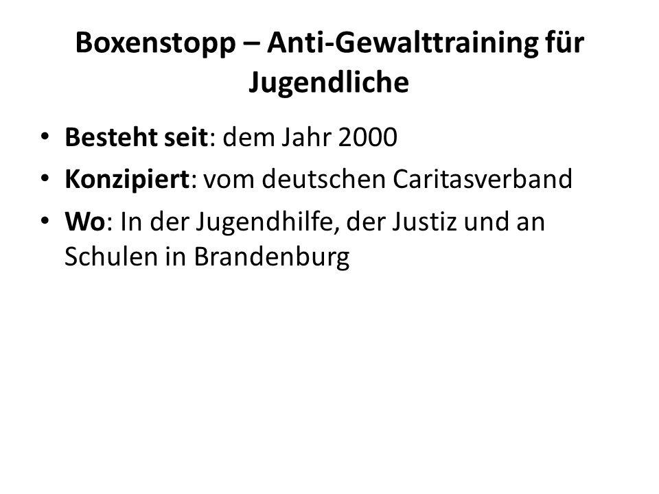 Boxenstopp – Anti-Gewalttraining für Jugendliche Besteht seit: dem Jahr 2000 Konzipiert: vom deutschen Caritasverband Wo: In der Jugendhilfe, der Just
