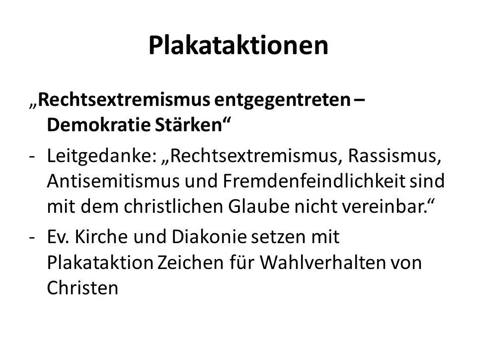 """Plakataktionen """"Rechtsextremismus entgegentreten – Demokratie Stärken"""" -Leitgedanke: """"Rechtsextremismus, Rassismus, Antisemitismus und Fremdenfeindlic"""