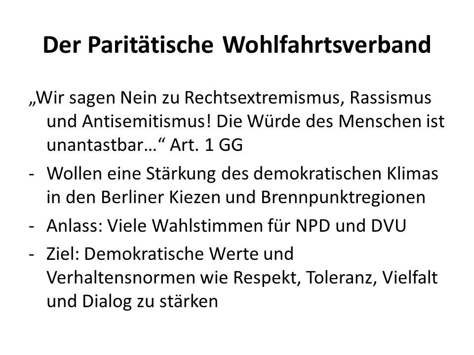"""Der Paritätische Wohlfahrtsverband """"Wir sagen Nein zu Rechtsextremismus, Rassismus und Antisemitismus! Die Würde des Menschen ist unantastbar…"""" Art. 1"""