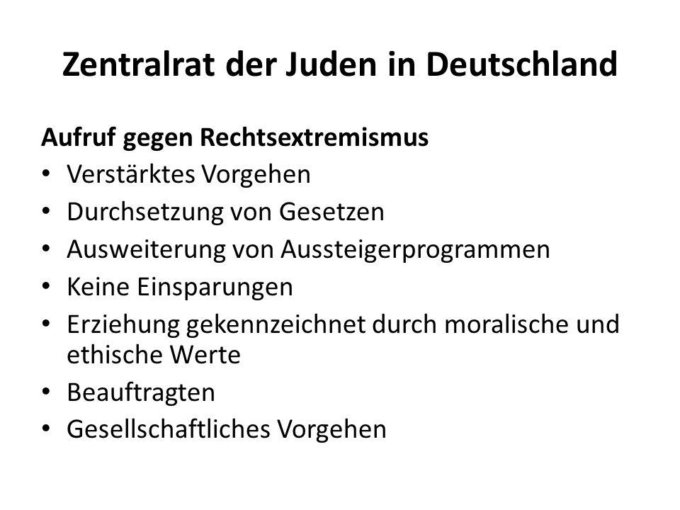 Zentralrat der Juden in Deutschland Aufruf gegen Rechtsextremismus Verstärktes Vorgehen Durchsetzung von Gesetzen Ausweiterung von Aussteigerprogramme