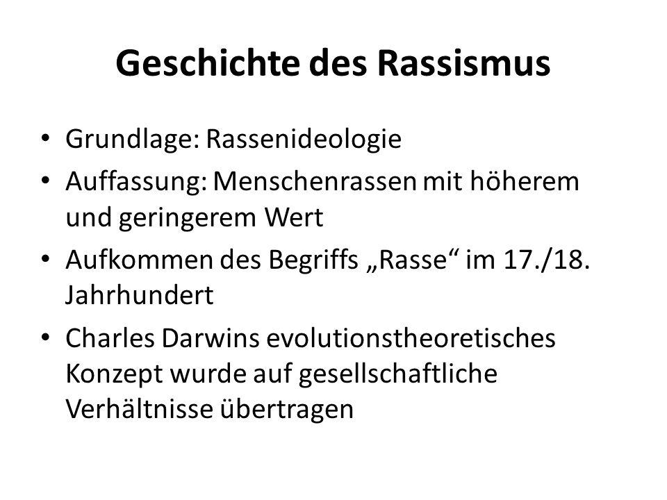 """Geschichte des Rassismus Grundlage: Rassenideologie Auffassung: Menschenrassen mit höherem und geringerem Wert Aufkommen des Begriffs """"Rasse"""" im 17./1"""