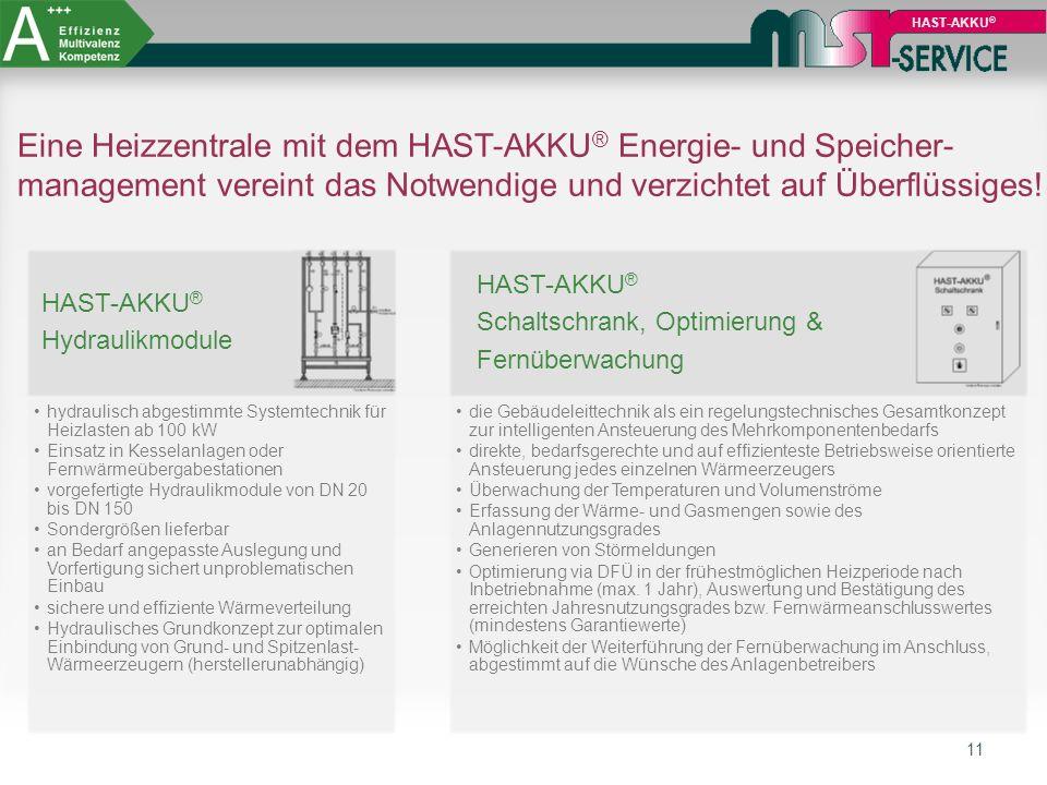 11 HAST-AKKU ® Eine Heizzentrale mit dem HAST-AKKU ® Energie- und Speicher- management vereint das Notwendige und verzichtet auf Überflüssiges! HAST-A