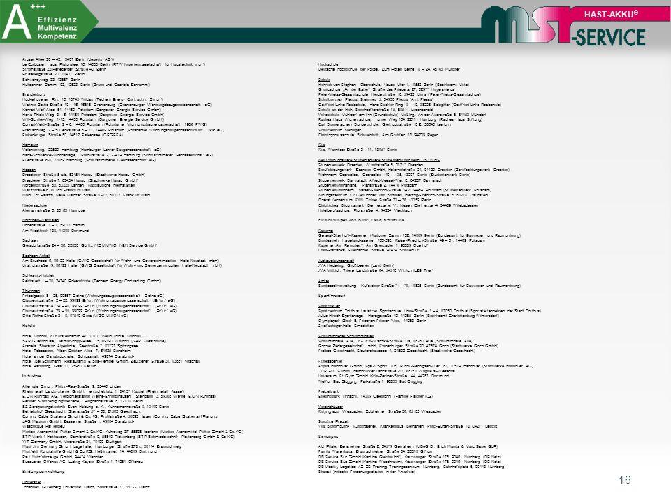 16 HAST-AKKU ® Aroser Allee 30 – 42, 13407 Berlin (degewo AG)) Le Corbusier Haus, Flatorallee 16, 14055 Berlin (RTW Ingenieurgesellschaft für Haustech