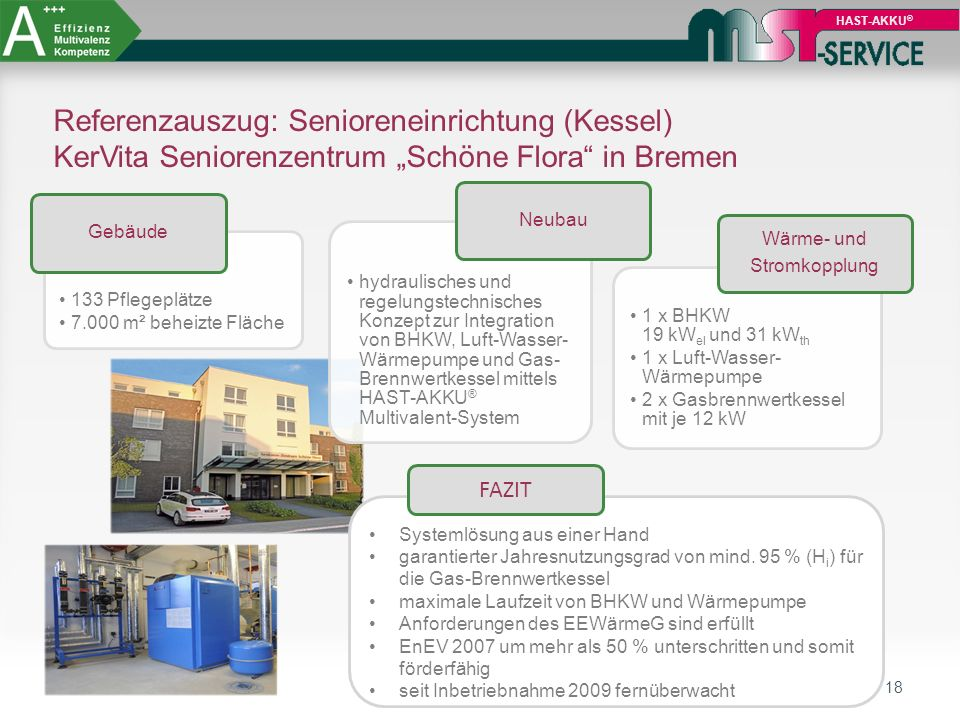 """18 HAST-AKKU ® Referenzauszug: Senioreneinrichtung (Kessel) KerVita Seniorenzentrum """"Schöne Flora"""" in Bremen 133 Pflegeplätze 7.000 m² beheizte Fläche"""