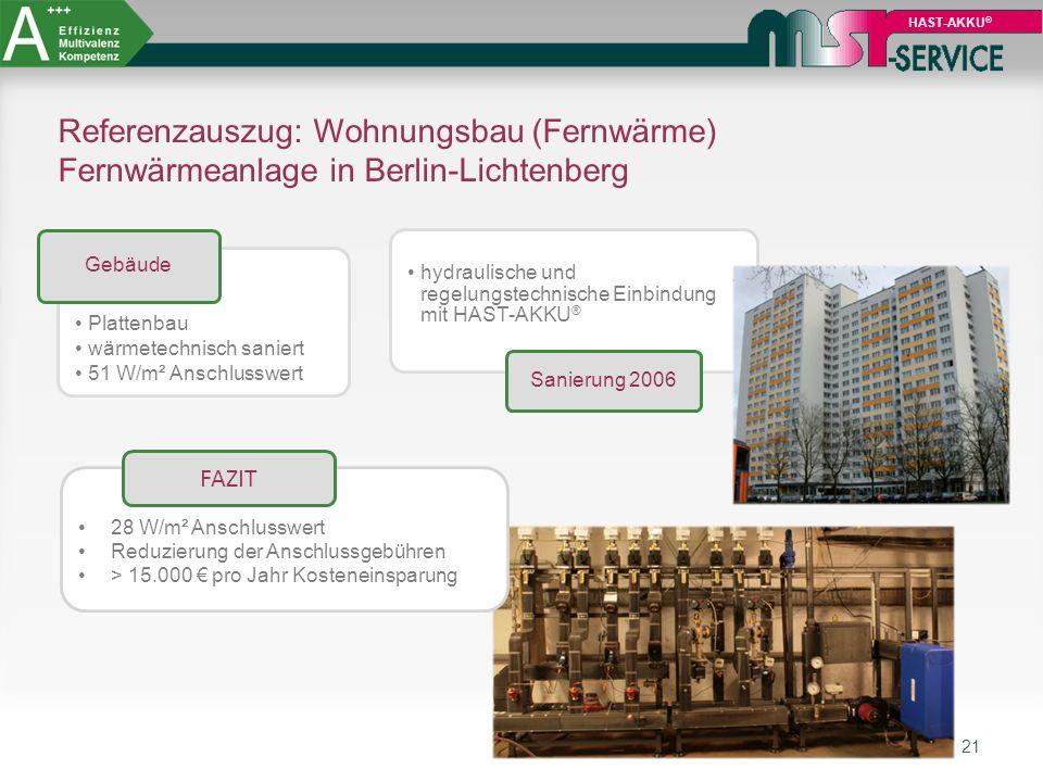 21 HAST-AKKU ® Referenzauszug: Wohnungsbau (Fernwärme) Fernwärmeanlage in Berlin-Lichtenberg 28 W/m² Anschlusswert Reduzierung der Anschlussgebühren >