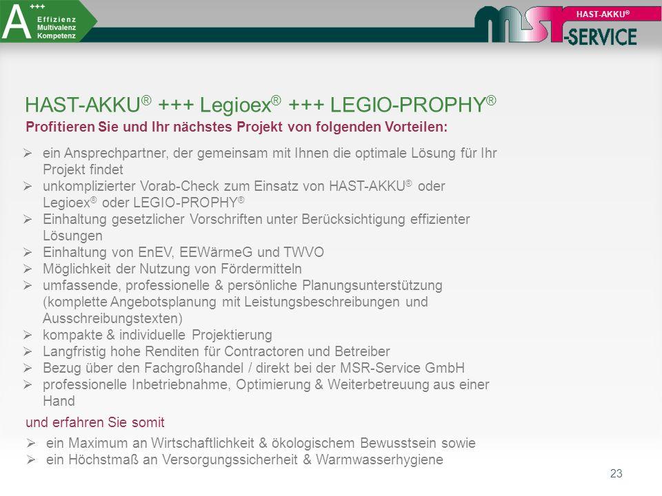 23 HAST-AKKU ® HAST-AKKU ® +++ Legioex ® +++ LEGIO-PROPHY ® Profitieren Sie und Ihr nächstes Projekt von folgenden Vorteilen:  ein Ansprechpartner, d
