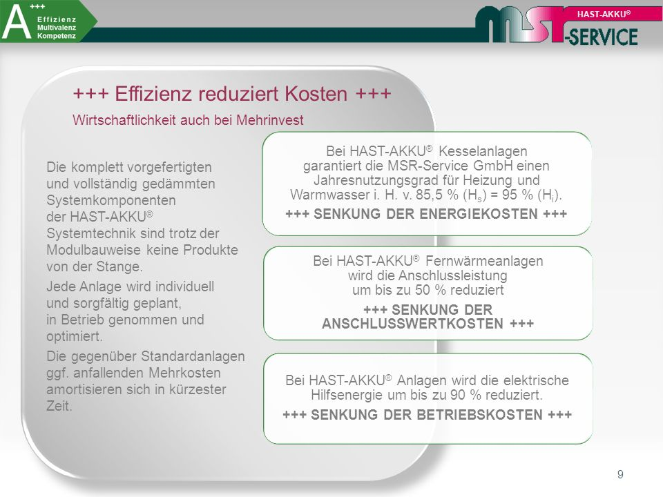 9 HAST-AKKU ® Bei HAST-AKKU ® Kesselanlagen garantiert die MSR-Service GmbH einen Jahresnutzungsgrad für Heizung und Warmwasser i. H. v. 85,5 % (Hs) =
