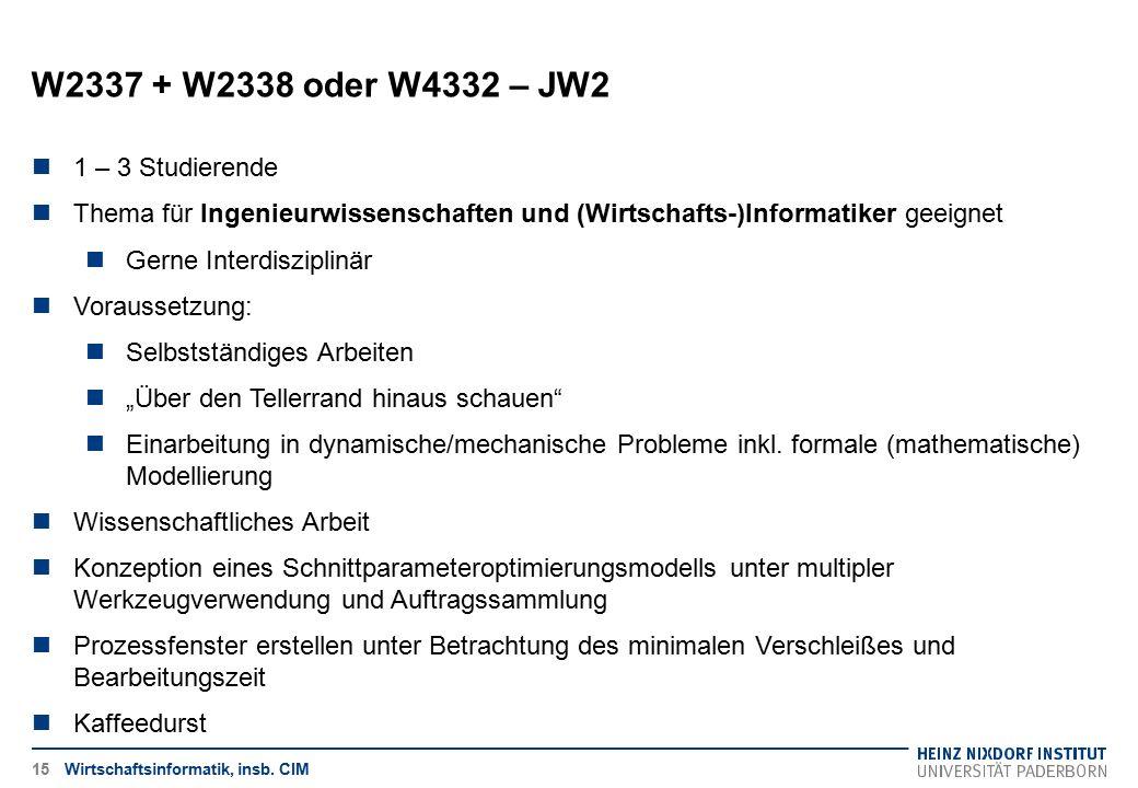 W2337 + W2338 oder W4332 – JW2 Wirtschaftsinformatik, insb. CIM15 1 – 3 Studierende Thema für Ingenieurwissenschaften und (Wirtschafts-)Informatiker g