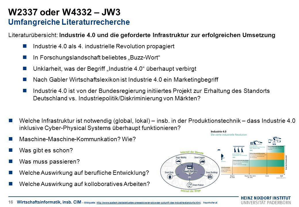 W2337 oder W4332 – JW3 Umfangreiche Literaturrecherche 16 Literaturübersicht: Industrie 4.0 und die geforderte Infrastruktur zur erfolgreichen Umsetzu