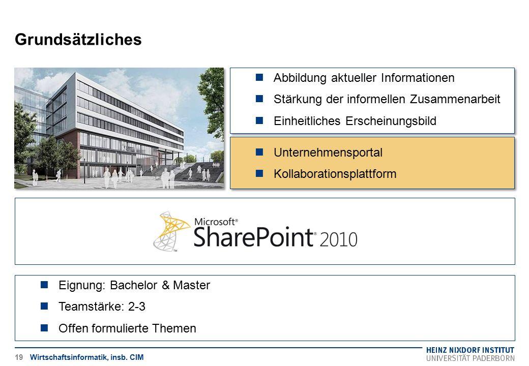 Grundsätzliches Wirtschaftsinformatik, insb. CIM19 Eignung: Bachelor & Master Teamstärke: 2-3 Offen formulierte Themen Abbildung aktueller Information