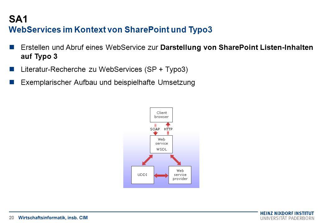 SA1 WebServices im Kontext von SharePoint und Typo3 Wirtschaftsinformatik, insb. CIM20 Erstellen und Abruf eines WebService zur Darstellung von ShareP