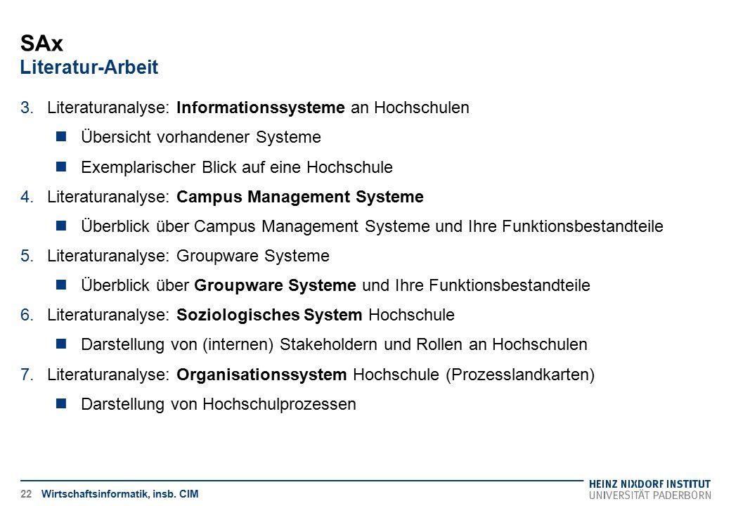 SAx Literatur-Arbeit Wirtschaftsinformatik, insb. CIM22 3.Literaturanalyse: Informationssysteme an Hochschulen Übersicht vorhandener Systeme Exemplari