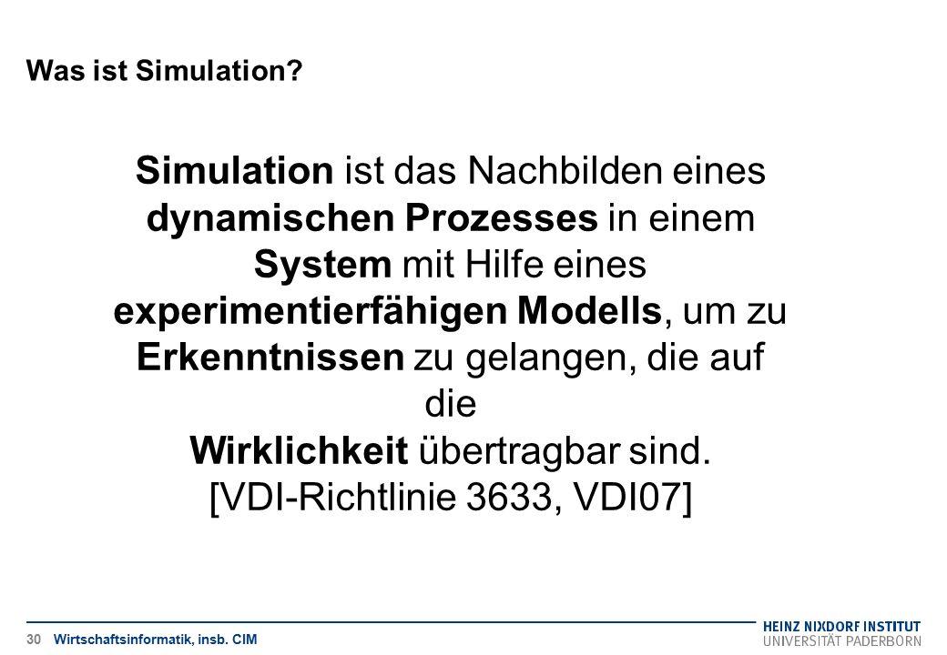 Was ist Simulation? Wirtschaftsinformatik, insb. CIM30 Simulation ist das Nachbilden eines dynamischen Prozesses in einem System mit Hilfe eines exper